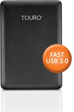 """HITACHI TOURO MOBILE 1TB USB 3.0 2.5"""" BLACK - EXTERNAL HARD DRIVE - 0S03804"""