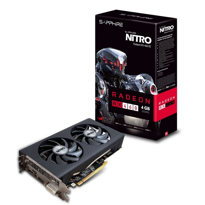 SAPPHIRE AMD NITRO RX 460 4GB OC DDR5 PCI-E - VIDEO CARD - 11257-02-20G
