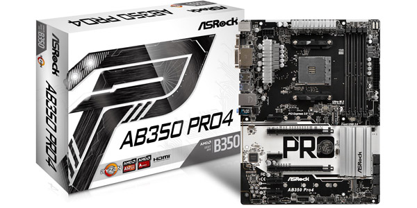 ASROCK AMD AB350-PRO4 - SOCKET AM4 - DDR4 - ATX - MOTHERBOARD