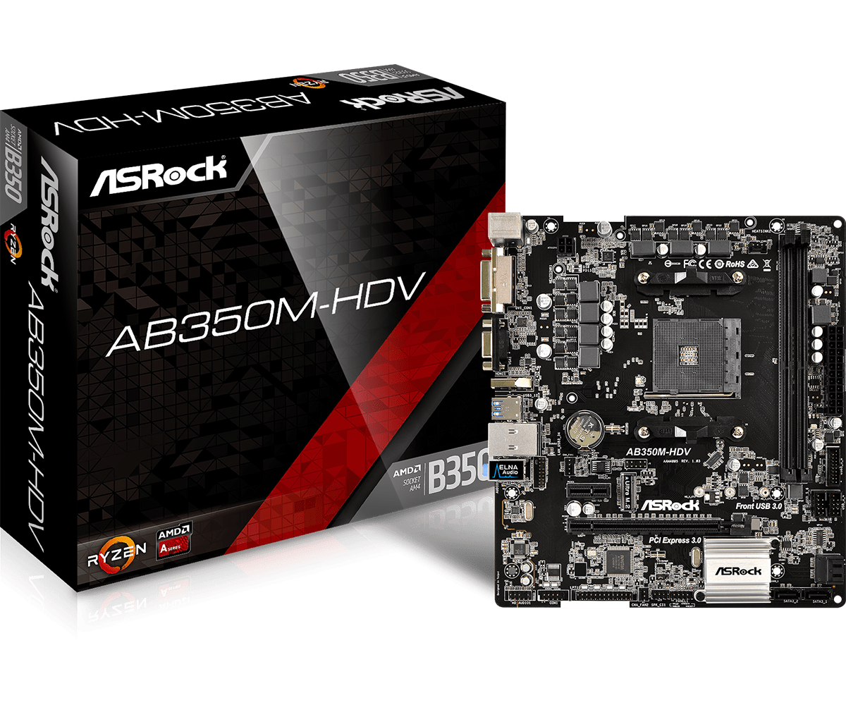 ASROCK AMD AB350M-HDV - SOCKET AM4 - DDR4 - MICRO-ATX - MOTHERBOARD