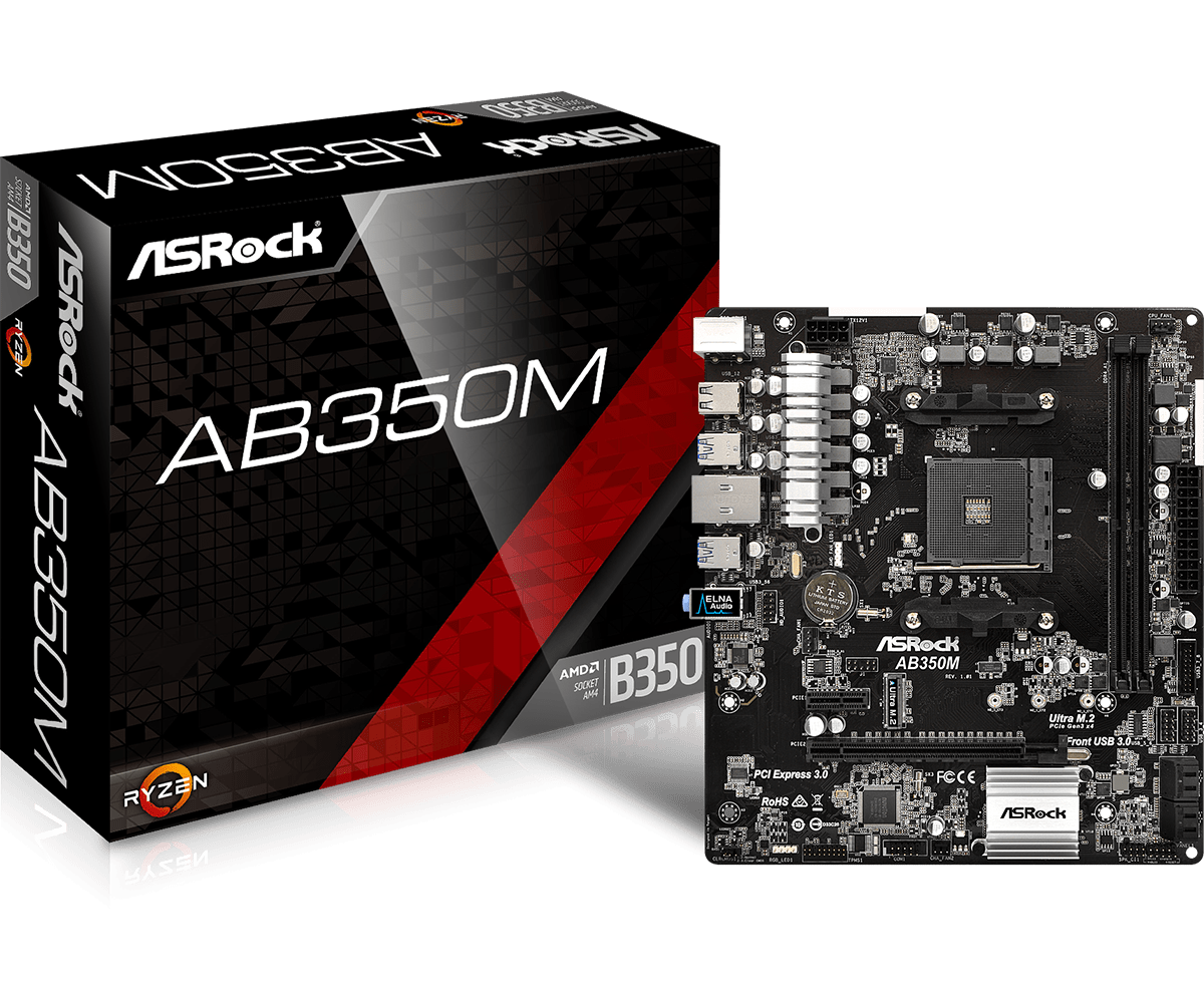 ASROCK AMD AB350M SOCKET AM4 MICRO-ATX MOTHERBOARD