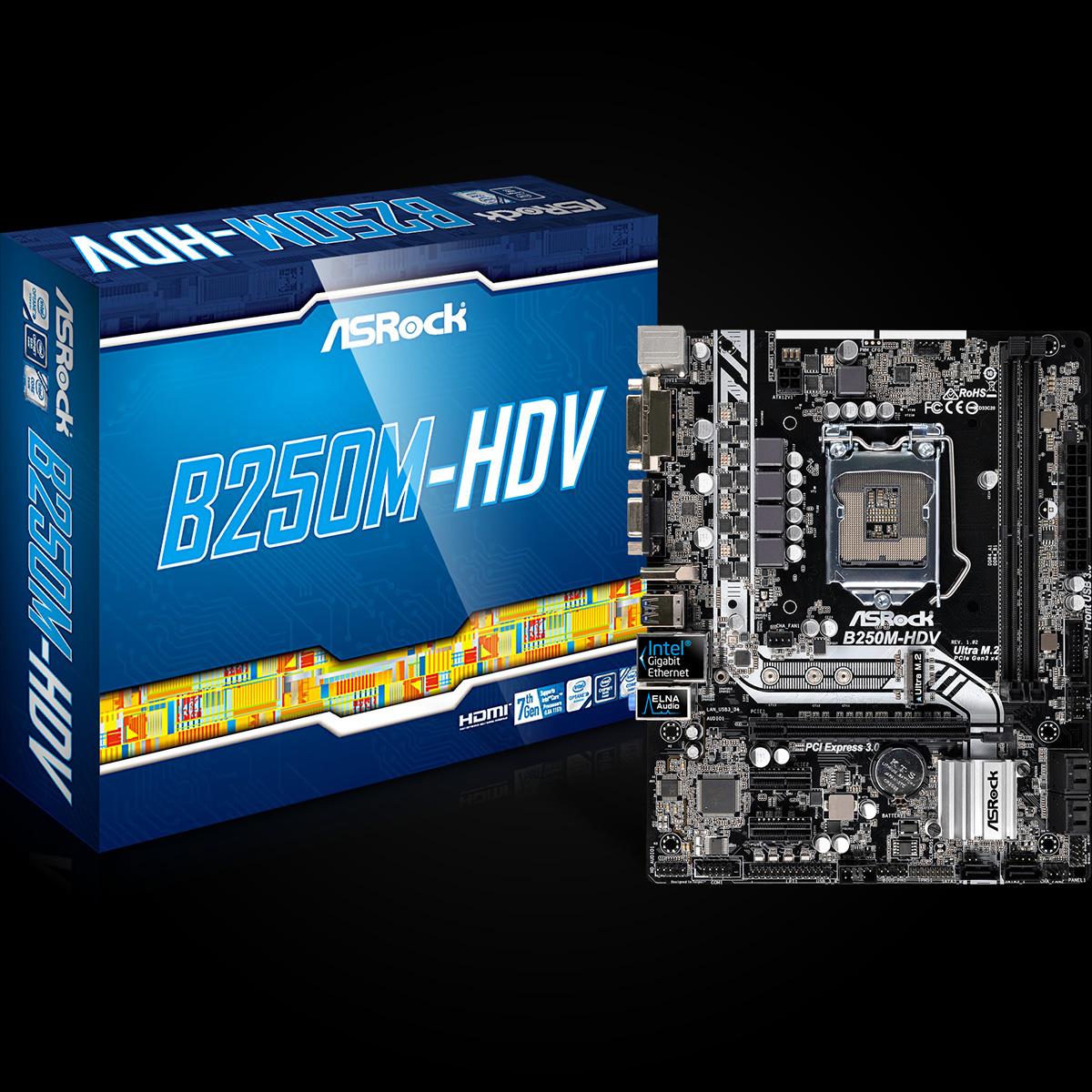 ASROCK INTEL B250M-HDV - SOCKET 1151 - DDR4 - MICRO-ATX MOTHERBOARD