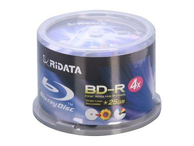 RIDATA BD-R 4X 25GB WHITE INKJET 50 PACK SPINDLE - BLU-RAY DISC MEDIA