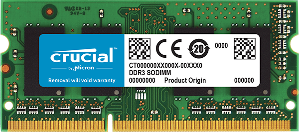 CRUCIAL 4GB DDR3L-1600 SO-DIMM - COMPUTER MEMORY - CT51264BF160BJ
