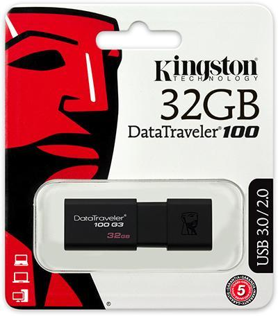 KINGSTON DATATRAVELER 100 G3 32GB USB 3.0 FLASH DRIVE - DT100G3/32GB