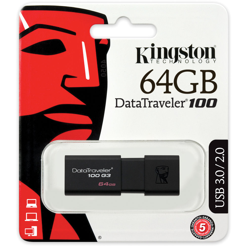 KINGSTON DATATRAVELER 100 G3 64GB USB 3.0 FLASH DRIVE - DT100G3/64GB
