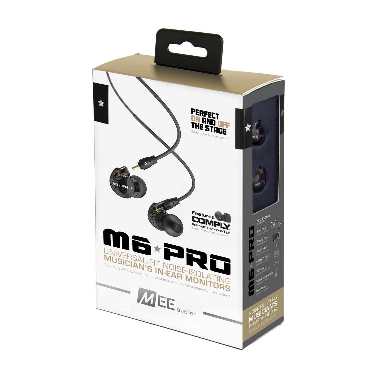 MEEAUDIO M6 PRO UNIVERSAL-FIT NOISE-ISOLATING MUSICIAN'S IN-EAR MONITORS WITH DETACHABLE CABLES - SMOKE - EP-M6PRO-BK-MEE