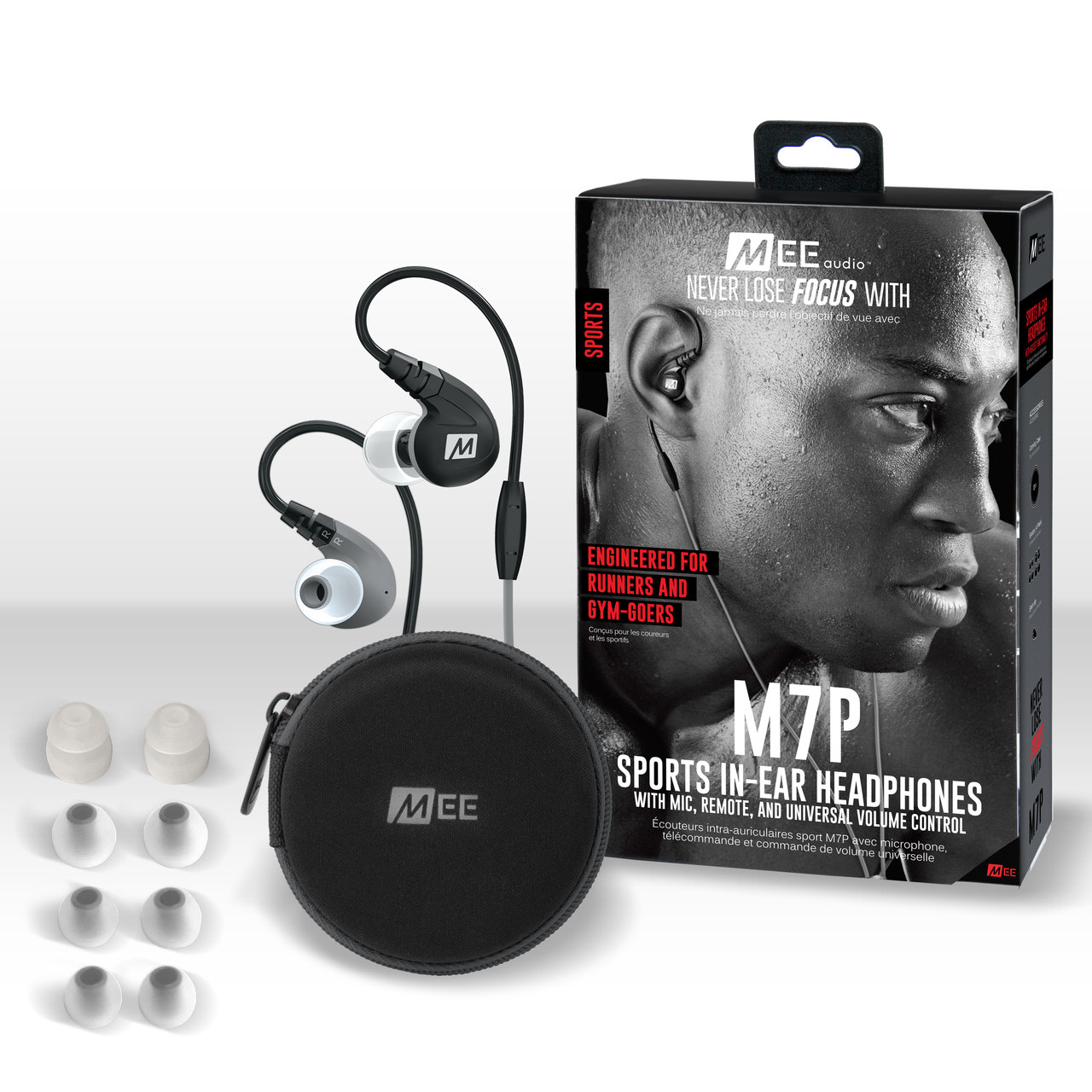 MEEAUDIO M7P SECURE-FIT SPORTS IN-EAR HEADPHONES WITH MIC, REMOTE, AND UNIVERSAL VOLUME - BLACK - EP-M7P-BK-MEE
