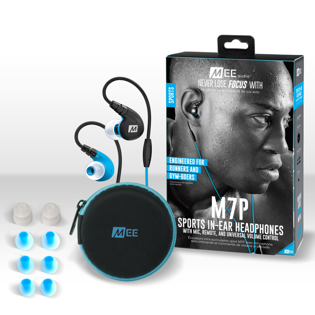 MEEAUDIO M7P SECURE-FIT SPORTS IN-EAR HEADPHONES WITH MIC, REMOTE, AND UNIVERSAL VOLUME - BLUE - EP-M7P-BL-MEE