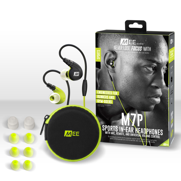 MEEAUDIO M7P SECURE-FIT SPORTS IN-EAR HEADPHONES WITH MIC, REMOTE, AND UNIVERSAL VOLUME - GREEN - EP-M7P-GN-MEE