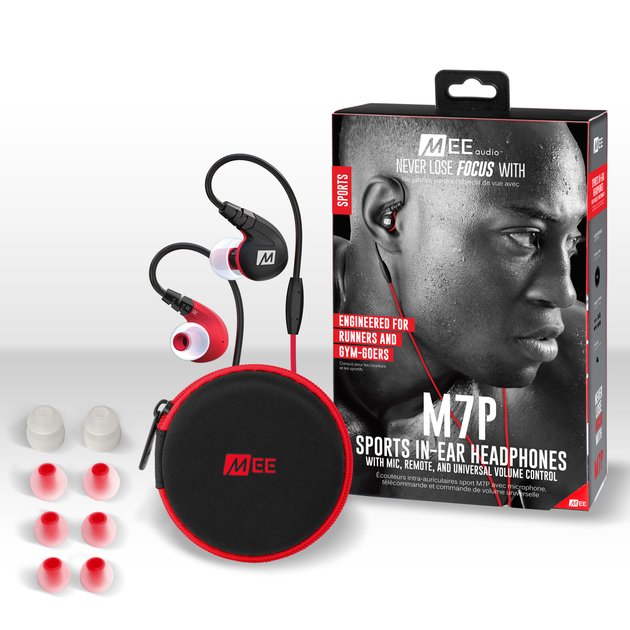 MEEAUDIO M7P SECURE-FIT SPORTS IN-EAR HEADPHONES WITH MIC, REMOTE, AND UNIVERSAL VOLUME - RED - EP-M7P-RD-MEE