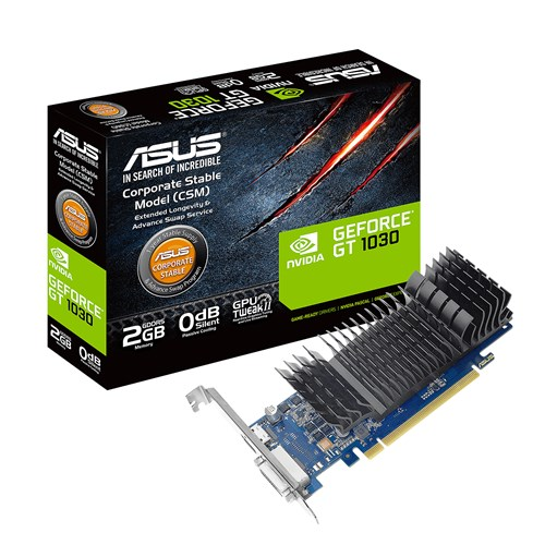 ASUS NVIDIA GEFORCE GT 1030 2GB DDR5 PCI-E LOW PROFILE SILENT - VIDEO CARD - GT1030-2G-CSM
