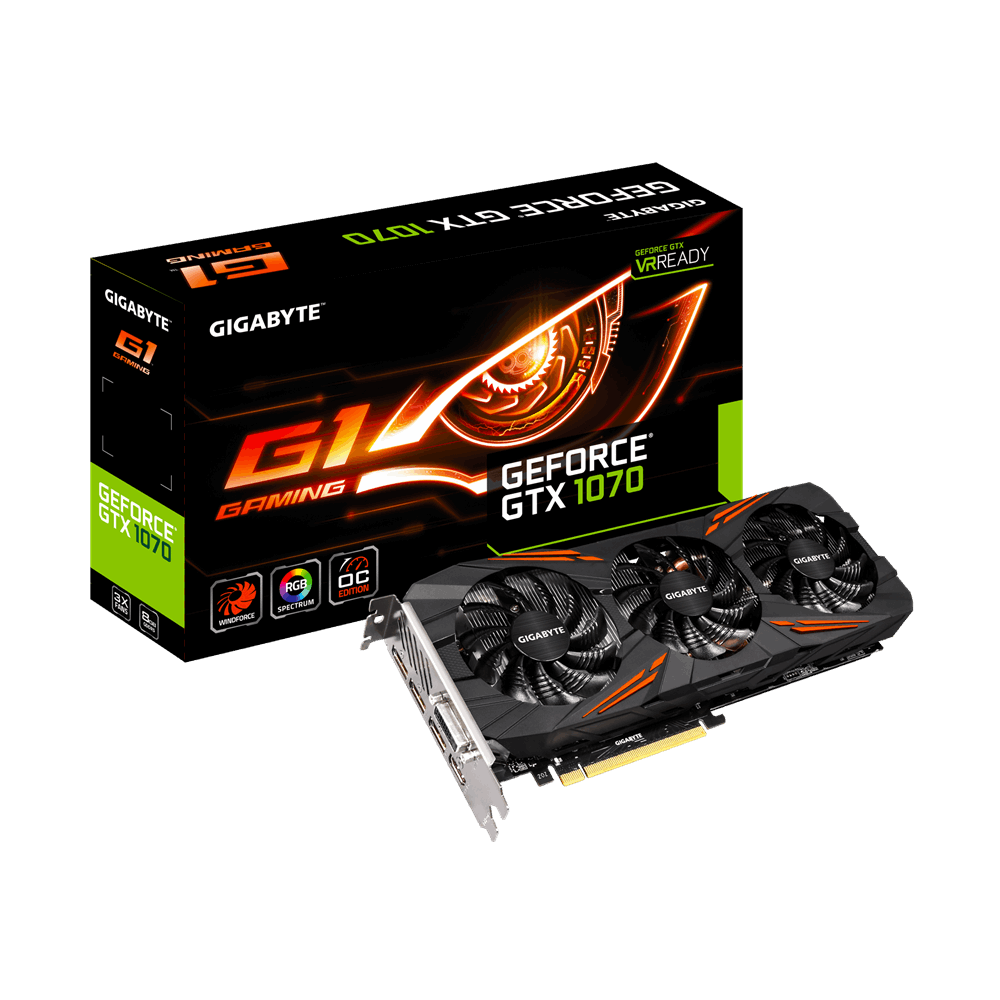 GIGABYTE NVIDIA GEFORCE GTX 1070 G1 GAMING - 8GB DDR5 PCI-E - VIDEO CARD - GV-N1070G1 GAMING-8GD
