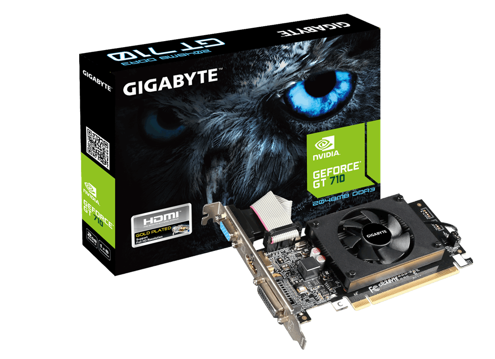 GIGABYTE NVIDIA GEFORCE GT 710 2G DDR3 PCI-E LOW PROFILE - VIDEO CARD - GV-N710D3-2GL