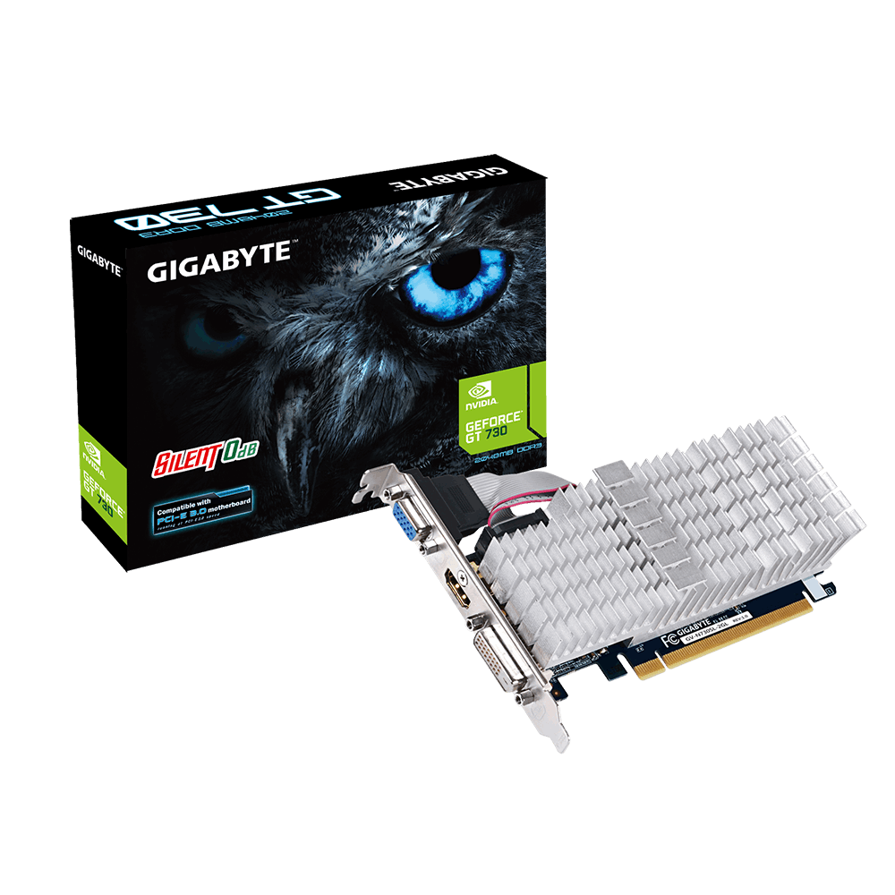 GIGABYTE NVIDIA GEFORCE GT 730 2GB DDR5 PCI-E LOW PROFILE SILENT COOLING - VIDEO CARD - GV-N730SL-2GL