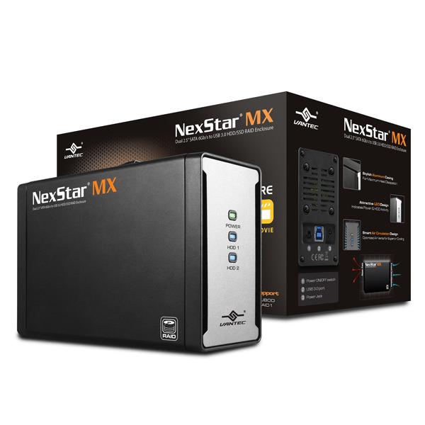 """VANTEC NEXSTAR MX EXTERNAL DUAL 2.5"""" SATA 6GB/S USB 3.0 RAID - HARD DRIVE ENCLOSURE - NST-225MX-S3"""