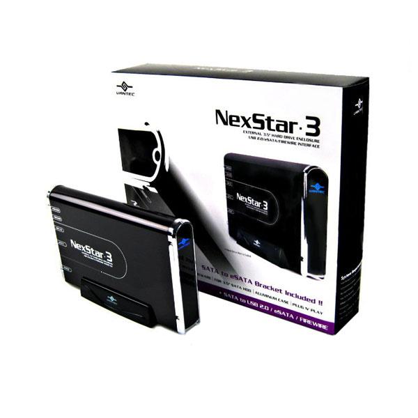"""VANTEC NEXSTAR 3 EXTERNAL 3.5"""" SATA USB 2.0 ESATA 1394A BLACK - HARD DRIVE ENCLOSURE - NST-360UFS-BK"""