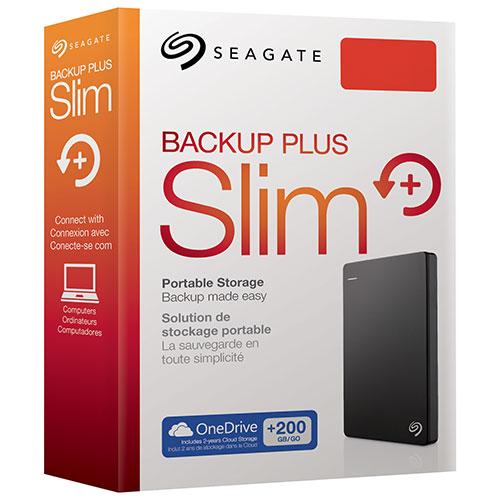 """SEAGATE BACKUP PLUS SLIM 1TB USB 3.0 2.5"""" BLACK - EXTERNAL HARD DRIVE - STDR1000100"""