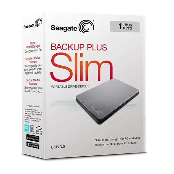 """SEAGATE BACKUP PLUS SLIM 1TB USB 3.0 2.5"""" SILVER - EXTERNAL HARD DRIVE - STDR1000101"""