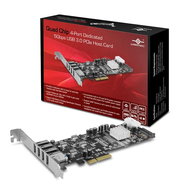 VANTEC QUAD CHIP 4PORTS USB3.0 PCIe