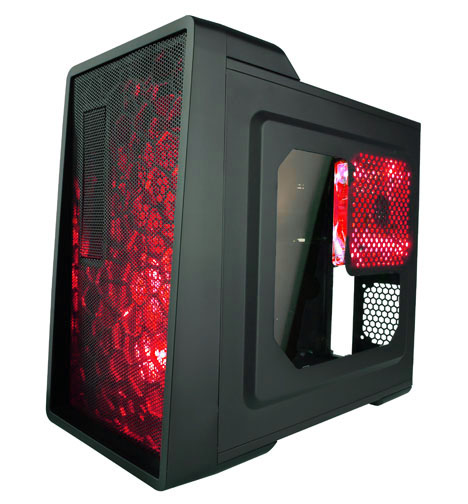 APEVIA COMPUTER CASE - X-ENERQ METAL CASE WITH SIDE WINDOWS - RED - ATX - MID TOWER - X-ENERQ-RD