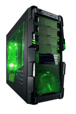 APEVIA COMPUTER CASE - X-HERMES METAL CASE WITH SIDE WINDOWS - GREEN - ATX - MID TOWER - X-HERMES-GN