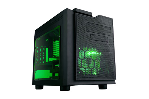 APEVIA COMPUTER CASE - X-QPACK3 METAL CASE WITH SIDE WINDOW - GREEN - MICRO ATX - XQPACK3-GN