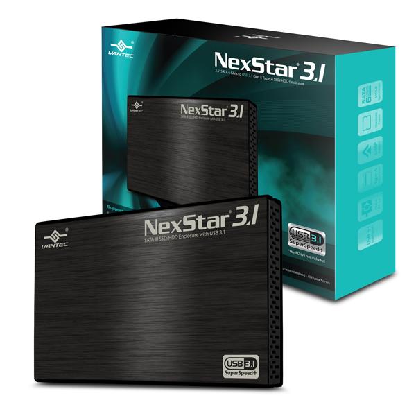 """VANTEC NEXSTAR 3.1 EXTERNAL 2.5"""" SATA 6GB/S USB 3.1 TYPE-A - HARD DRIVE ENCLOSURE - NST-270A31-BK"""