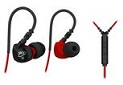 MEEAUDIO SPORT-FI S6 MEMORY WIRE IN-EAR HEADPHONES WITH MICROPHONE, REMOTE, UNIVERSAL VOLUME CONTROL, AND SPORTS ARMBAND - RED/BLACK - EP-SFS6-RDBK-MEE