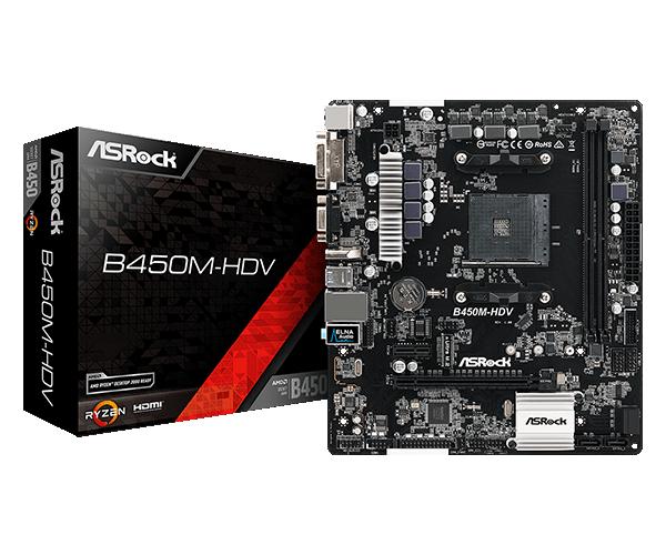 ASRock B450M HDV R4.0 AMD AM4 Socket Dual Channel, PCIe 3.0, M.2 USB 3.1, DVI-D, HDMI, D-Sub, mATX Motherboard