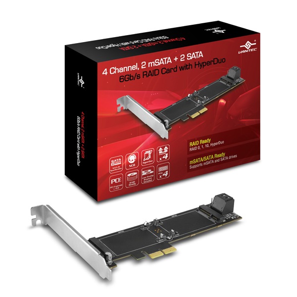 VANTEC 4CH/2mSATA+2SATA 6Gb/s PCIe RAID