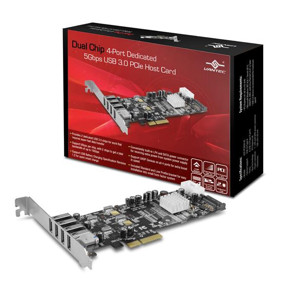 VANTEC DUAL CHIP 4PORTS USB3.0 PCIe