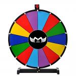 """MEGABRAND 24"""" TABLETOP  SPINNING PRIZE WHEEL 14 SLOTS WITH COLOUR DRY ERASE WITH WOOD BASE"""